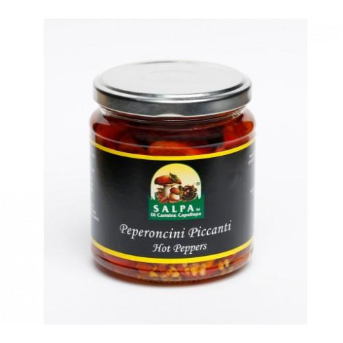 Peperoncini piccanti in olio di semi di girasole, vaso da 314g