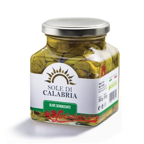 Olive verdi schiacciate in olio extra vergine di oliva