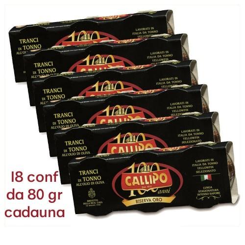 TUNA TRANCI CALLIPO CON ACEITE DE OLIVA EN CAJA 80gr RESERVA DE ORO