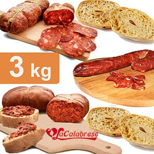3 kg di salumi calabresi 1 kg di soppressata + 1 kg di salsiccia + 1 kg di nduia + OMAGGIO