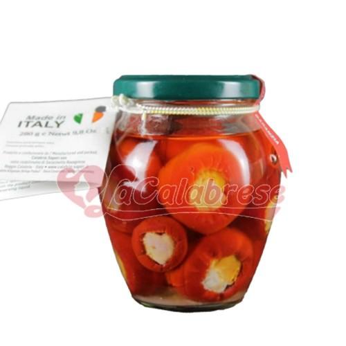 Peperoncini ripieni con provolone e prosciutto crudo senza conservanti